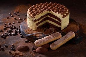 Tiramisu cake on a dark slate,stone or metal background.